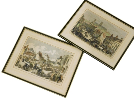 A pair of late 19thC engravings, to include The Annual Horsefair At Horncastle Lincolnshire, and Lincoln Horsefair, 24cm x 34cm, and 23cm x 33cm respectively. (2)
