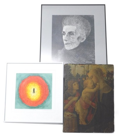 After M Richardson. A Mind Flower Blooms in Eternal Spring, artist signed print to margin, a portrait after Robert Brerley, and a print mounted onto board. (3)
