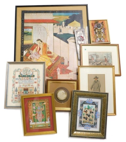 A collection of Oriental pictures and prints, to include images of gods, a Mogul School picture of warriors on horseback in a mosaic frame, etc. (a quantity)