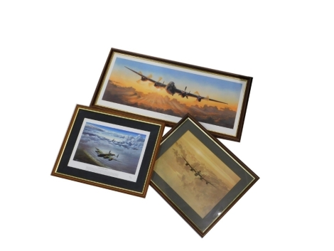 Three aviation related prints, to include Home For Breakfast, limited edition print no. 78/1000, after Adrian Rigby, The Long Journey Home, print, 29cm x 79cm, and a further after Coulson print. (3)