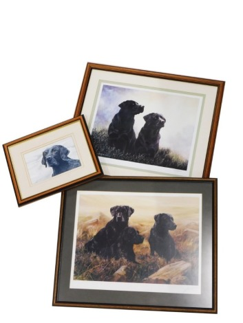 After John Lewis Fitzgerald (b.1945). Black Labradors in a rural landscape, limited edition signed print no. 125/350, 36cm x 45cm, black Labrador, watercolour on paper, indistinctly signed, 16cm x 23cm, and three black Labrador in a mountainous scene, si