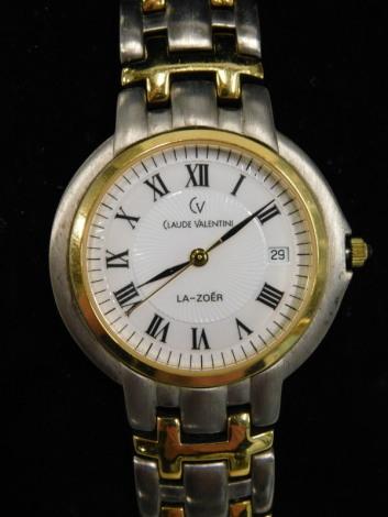 A Claude Valentin gents wristwatch, with original box.
