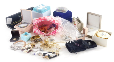A group of modern costume jewellery Diamonique items, ladies wristwatches, clip on earrings, dress rings, etc. (1 tray)