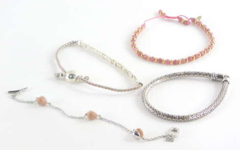 Four various bracelets, each in Links of London bags, of varying design. (3)