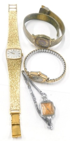 A Ginsbo ladies chrome plated Art Deco wristwatch, a Sekonda ladies wristwatch, a gold plated ladies wristwatch, unmarked, and a Bulova ladies wristwatch. (4)