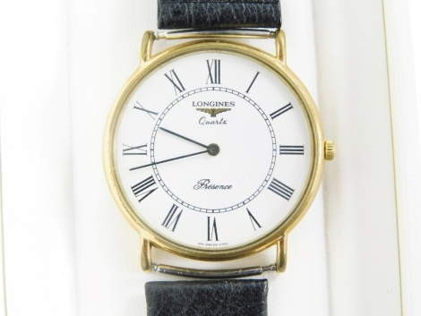 A Longines Precision wristwatch, with a stainless steel and gold plated wristwatch head on black leather strap, boxed.
