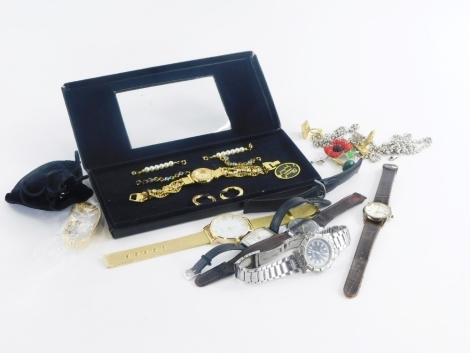 A group of costume jewellery and effects, to include gentleman's and ladies wristwatches, silver plated chains, cuff links, etc. (1 tray)