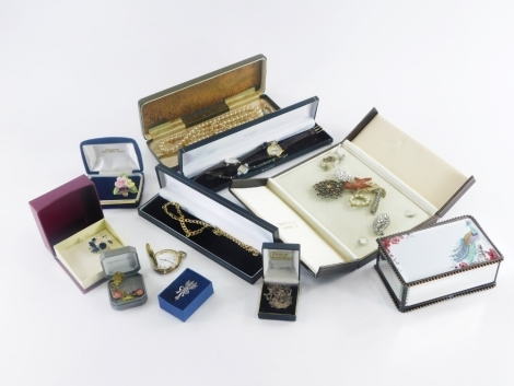 Various costume jewellery and effects, to include a Rotary gold plated ladies wristwatch, various other dress watches, some silver necklaces, etc.(1 tray)