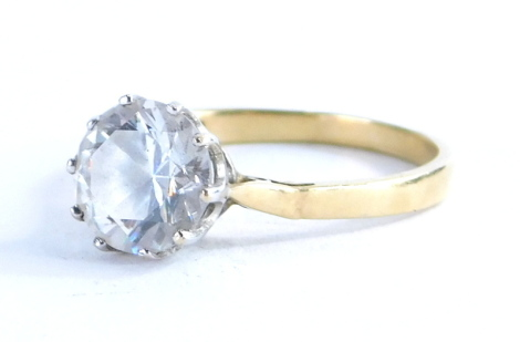 A 14ct gold solitaire ring, with cz centre and plain shank, marked 585, 2.8g all in.