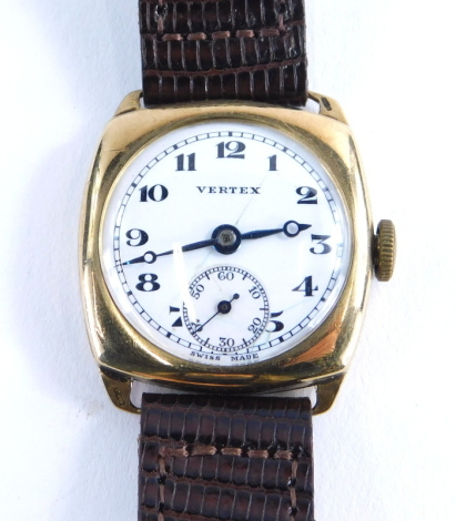 A Vertex 9ct gold gentleman's wristwatch, with silver and white enamelled dial with black hands and seconds dial, with inscription to back Robert C Whitehead, rubbed, on a later brown leather strap, 26g all in.
