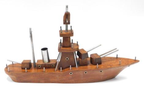 A hardwood and aluminium scratch built model of a Frigate, with three gun turrets, etc., 47cm long.
