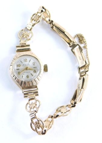 A 9ct gold Avia ladies wristwatch, with fan watch head and bezel, and a similar design bracelet, with additional links, approx 14cm long overall, 11.6g all in, boxed.