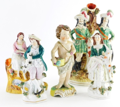 A collection 19thC Staffordshire pottery figures, to include a spill vase depicting two gentleman and dog, figure of a child with fruit basket, etc. (a quantity)