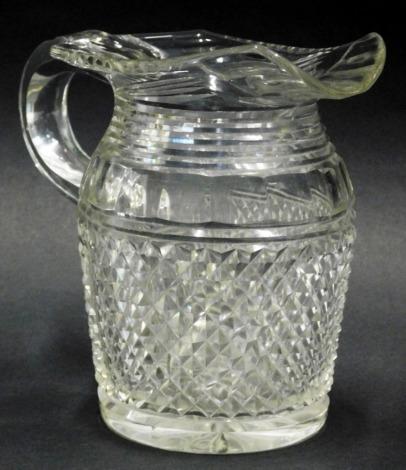An early 20thC lead crystal jug, 16cm high.
