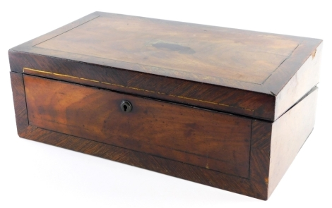 A 19thC mahogany and crossbanded writing slope, the top with a brass shaped cartouche, the hinged lid revealing a fitted interior, 17cm high, 45cm wide, 26cm deep.