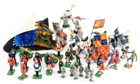 A quantity of lead and metal toy soldiers, etc., to include Britain's Coldstream Guard, bag pipe player, etc. (a quantity)