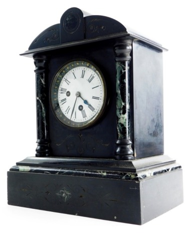 A 19thC slate and marble mantel clock, with a 10cm enamel Roman numeric dial, 34cm high.