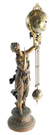 A 19thC French spelter and brass mystery clock, in the form of a classical lady holding a circular orb, and drop pendulum, the dial with Arabic numerals, decorated with gilt bows, scrolls, etc., on a pedestal base, 70cm high.
