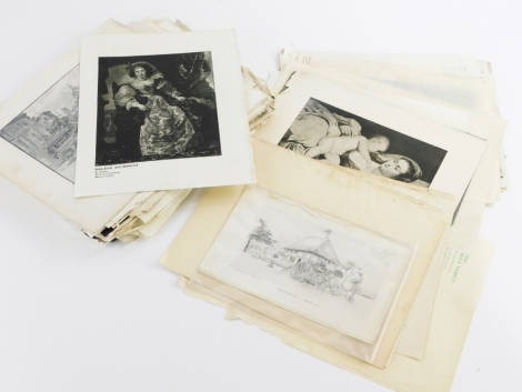 A collection of unframed prints, to include a photographic print of Mexboro and Swinton Tramways company tram, after Rubens portrait of a lady and child, print, etc. (a quantity)