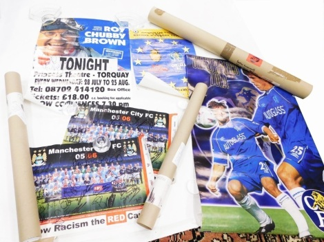 A quantity of signed football posters mainly Chelsea, to include Ruud Gullit, Chris Sutton, Zola, etc.