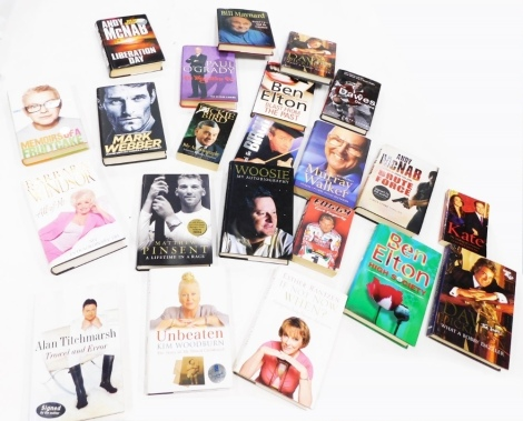 A quantity of signed and other autobiographies, to include Alan Titchmarsh, Kim Woodburn, Barbara Windsor, Bill Maynard, Paul O'Grady, Chris Evans, Andy McNab, Ben Elton, sporting books relating to Murray Walker, etc.