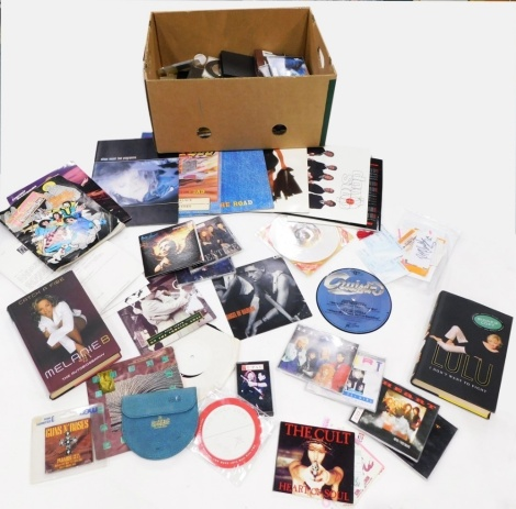 A quantity of rock and pop CD's, tour programmes, autobiographies, signed tickets, etc., to include Melanie B, Tina Turner, T'Pau, etc.