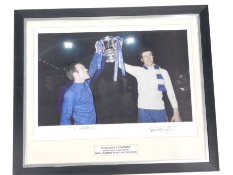 A replica photograph titled Chelsea Legends, personally signed by Ron Harris and Peter Osgood, with certificate of authenticity from M S R memorabilia.