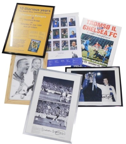 A collection of signed Chelsea football club memorabilia, to include a poster for the European cup match against Tromso, photograph signed by Ron Harris and Peter Osgood, poster for Ten Glorious Years Dennis Wise Testimonial Match and a Malcolm Macdonald