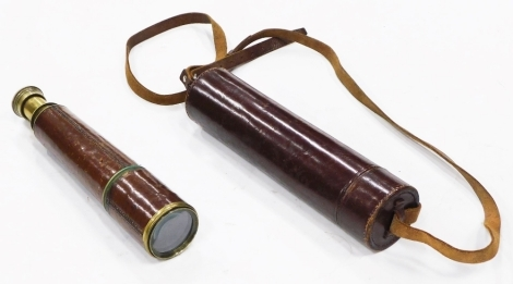 A Broadhurst Clarkson and Co Limited four drawer brass and leather telescope, stamped Tel. Scc. Rgts. Mk. 2s, dated 1940, numbered 1584, and a carrying case.