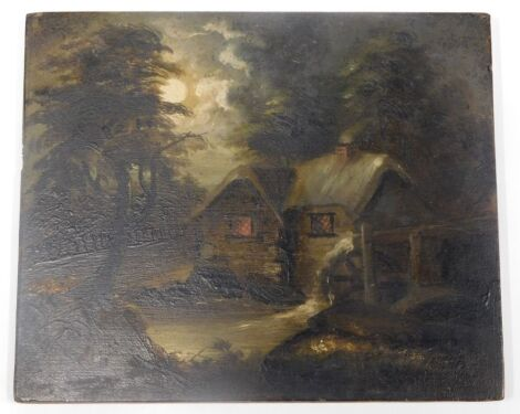19thC School. Cottage in a twilight evening, oil on panel, unsigned, 16cm x 19cm.
